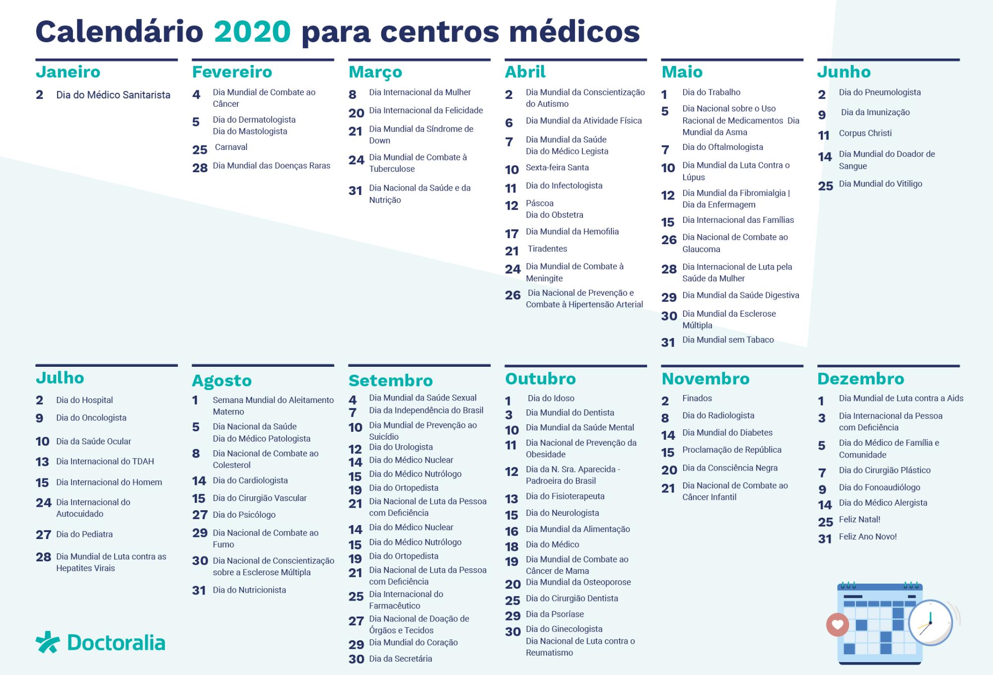 calendario da saude para centros medicos
